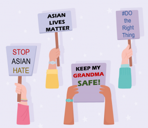 Signs saying Stop Asian Hate and Asian Lives Matter
